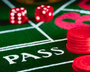 Dice and Poker Chips on Game Table